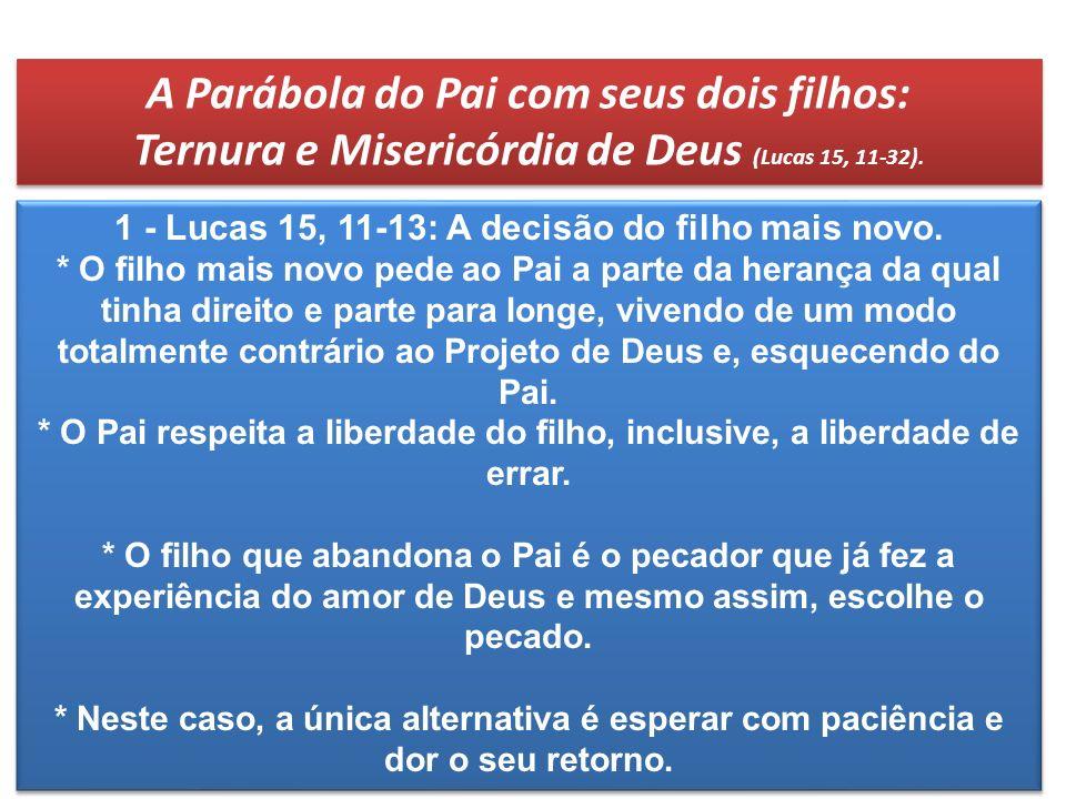 A Parábola do Pai com seus dois filhos: Ternura e Misericórdia de Deus (Lucas 15, 11-32). A Parábola do Pai com seus dois filhos: Ternura e Misericórd