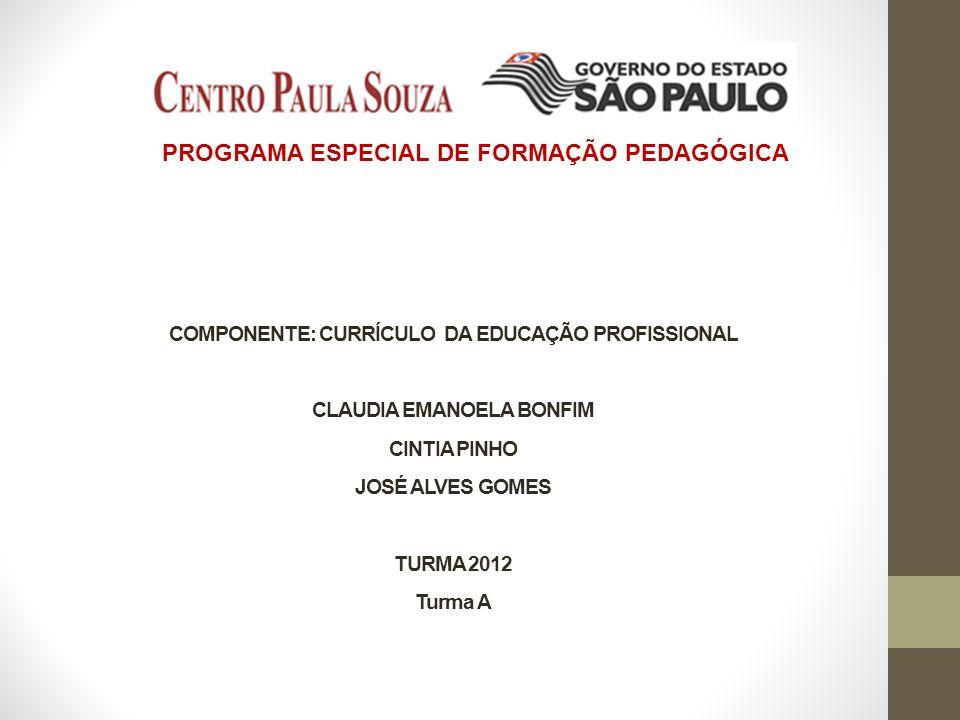 COMPONENTE: CURRÍCULO DA EDUCAÇÃO PROFISSIONAL CLAUDIA EMANOELA BONFIM CINTIA PINHO JOSÉ ALVES GOMES TURMA 2012 Turma A PROGRAMA ESPECIAL DE FORMAÇÃO