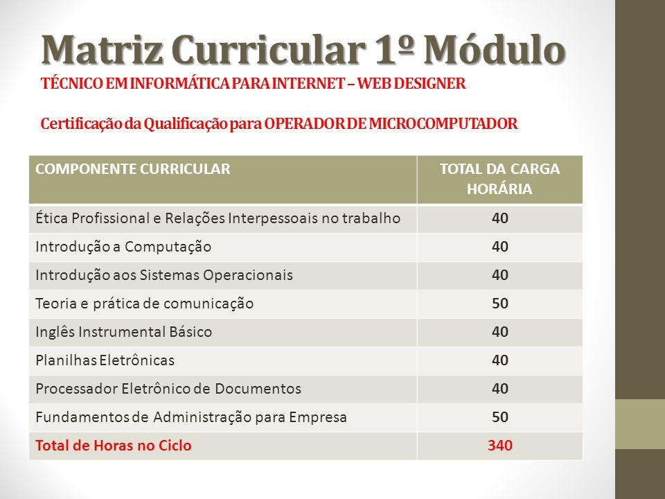 Matriz Curricular 1º Módulo Matriz Curricular 1º Módulo TÉCNICO EM INFORMÁTICA PARA INTERNET – WEB DESIGNER Certificação da Qualificação para OPERADOR
