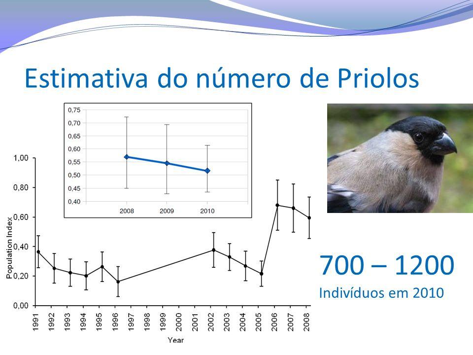 Estimativa do número de Priolos 700 – 1200 Indivíduos em 2010