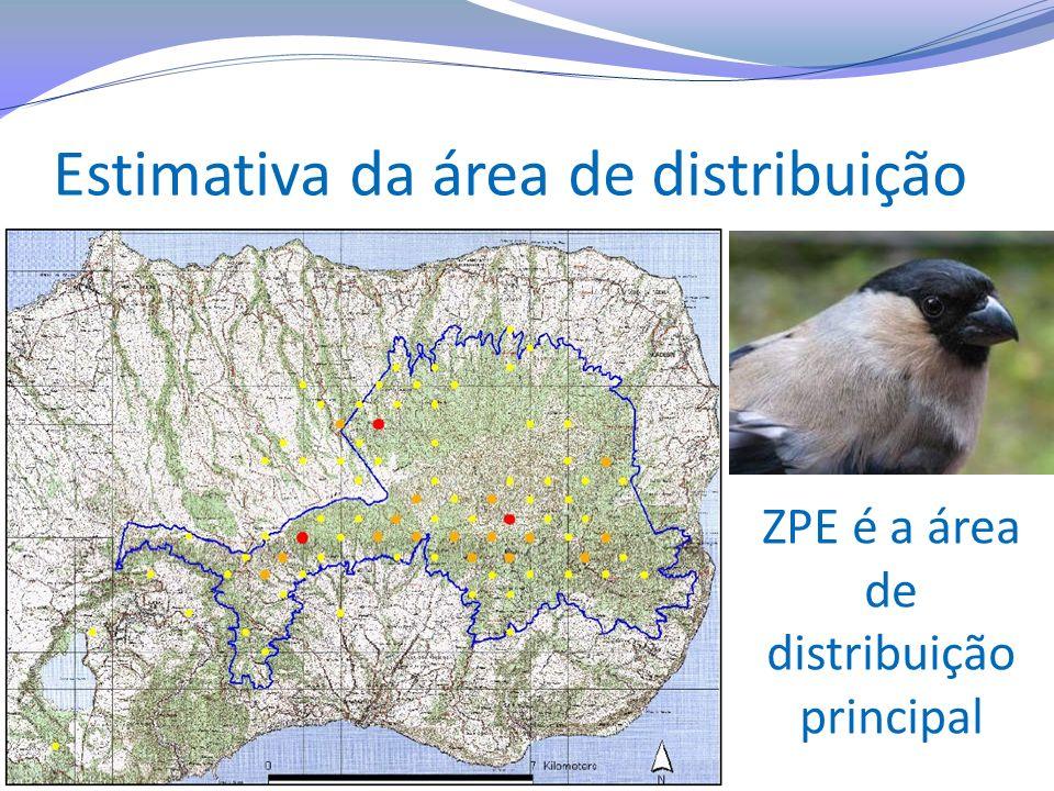 Estimativa da área de distribuição ZPE é a área de distribuição principal