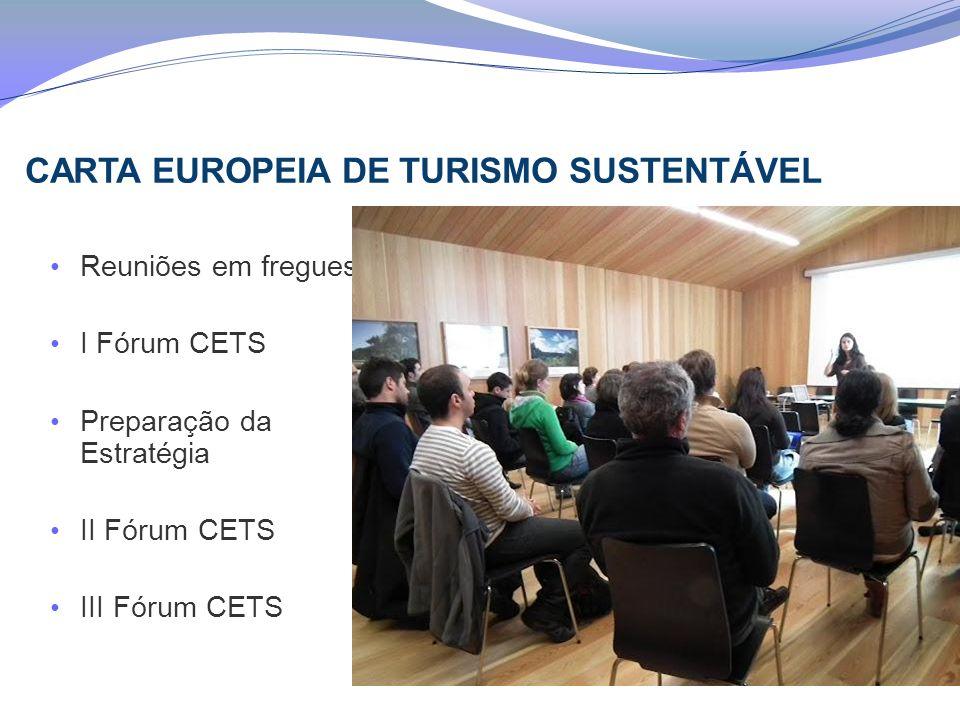 CARTA EUROPEIA DE TURISMO SUSTENTÁVEL Reuniões em freguesias I Fórum CETS Preparação da Estratégia II Fórum CETS III Fórum CETS