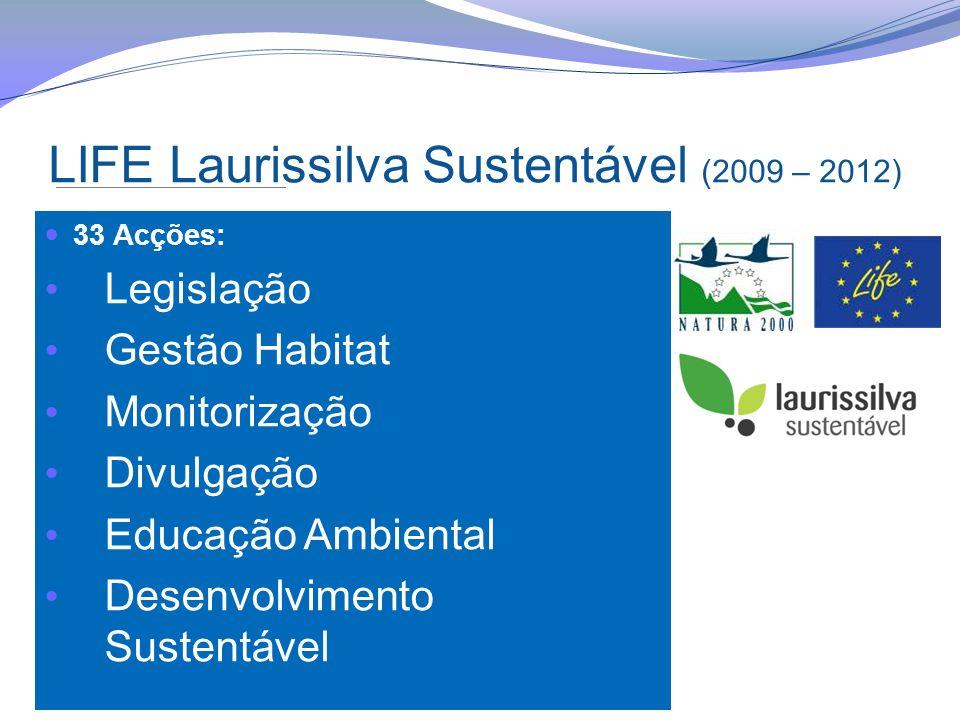 LIFE Laurissilva Sustentável (2009 – 2012) 33 Acções: Legislação Gestão Habitat Monitorização Divulgação Educação Ambiental Desenvolvimento Sustentáve