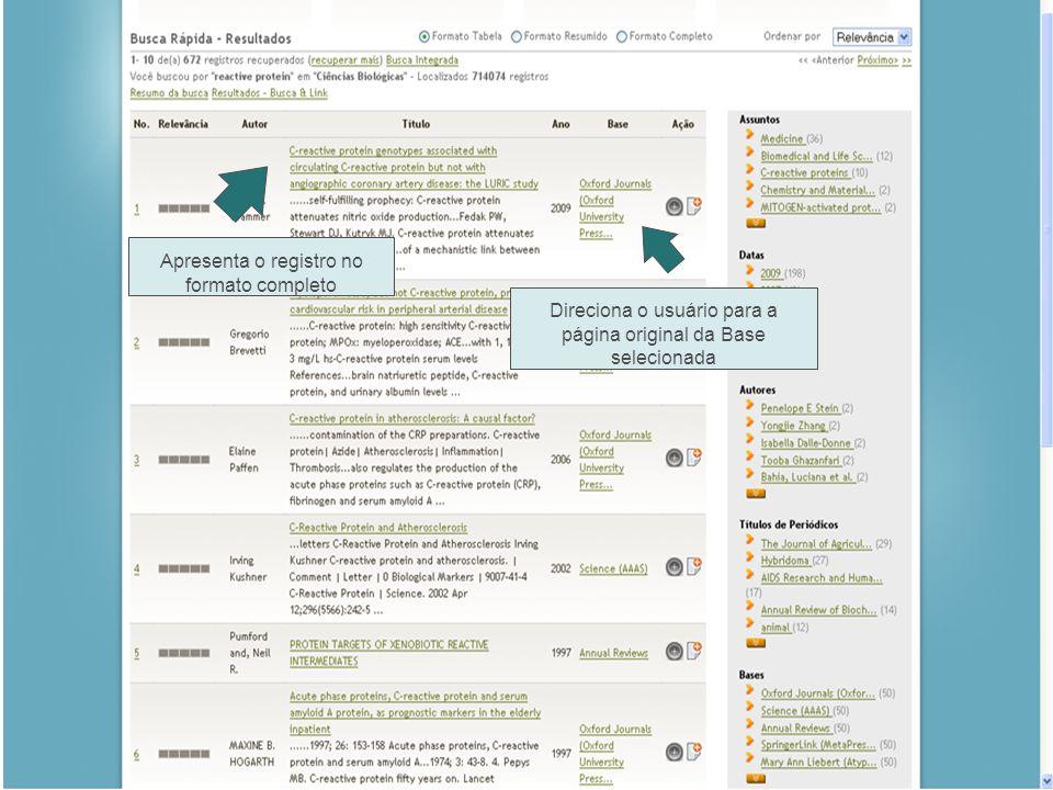 Direciona o usuário para a página original da Base selecionada Apresenta o registro no formato completo