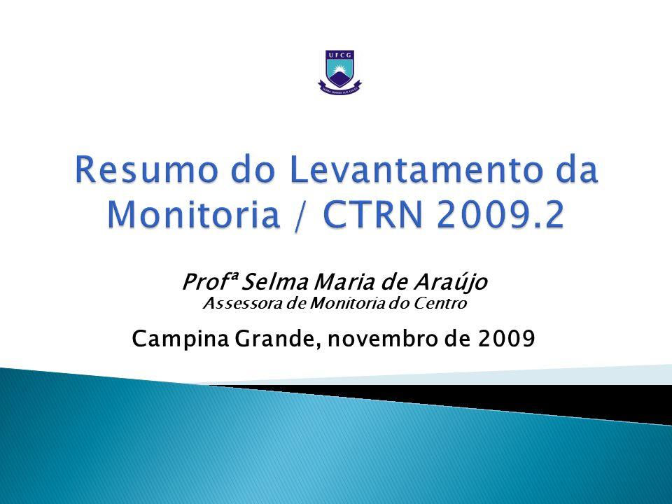 Profª Selma Maria de Araújo Assessora de Monitoria do Centro Campina Grande, novembro de 2009