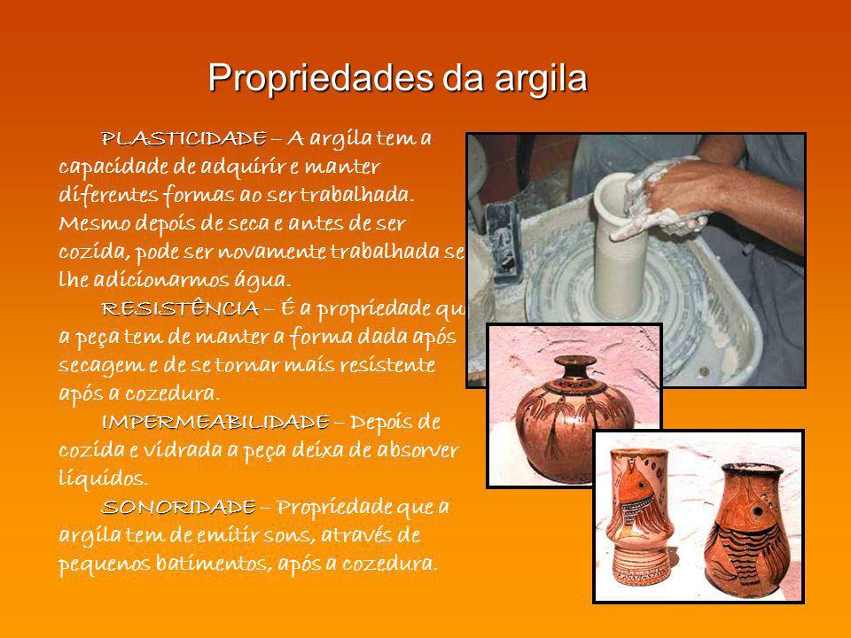 PLASTICIDADE PLASTICIDADE – A argila tem a capacidade de adquirir e manter diferentes formas ao ser trabalhada. Mesmo depois de seca e antes de ser co