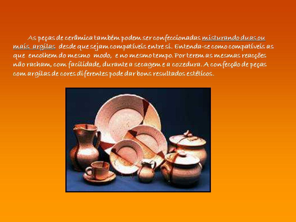 misturando duas ou mais argilas As peças de cerâmica também podem ser confeccionadas misturando duas ou mais argilas desde que sejam compatíveis entre