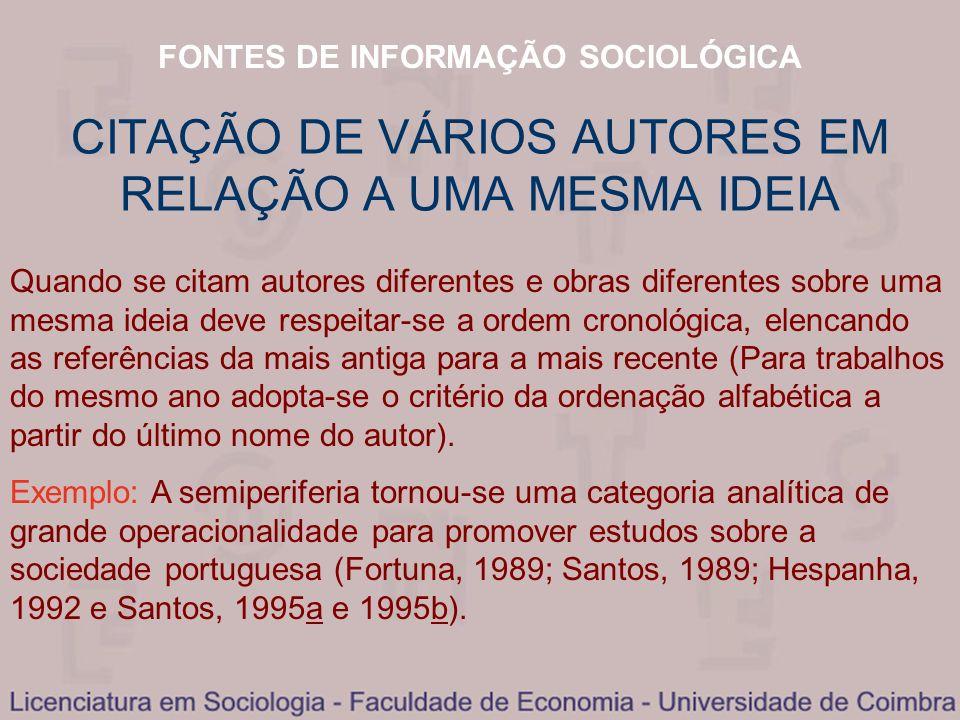 FONTES DE INFORMAÇÃO SOCIOLÓGICA CITAÇÃO DE VÁRIOS AUTORES EM RELAÇÃO A UMA MESMA IDEIA Quando se citam autores diferentes e obras diferentes sobre um