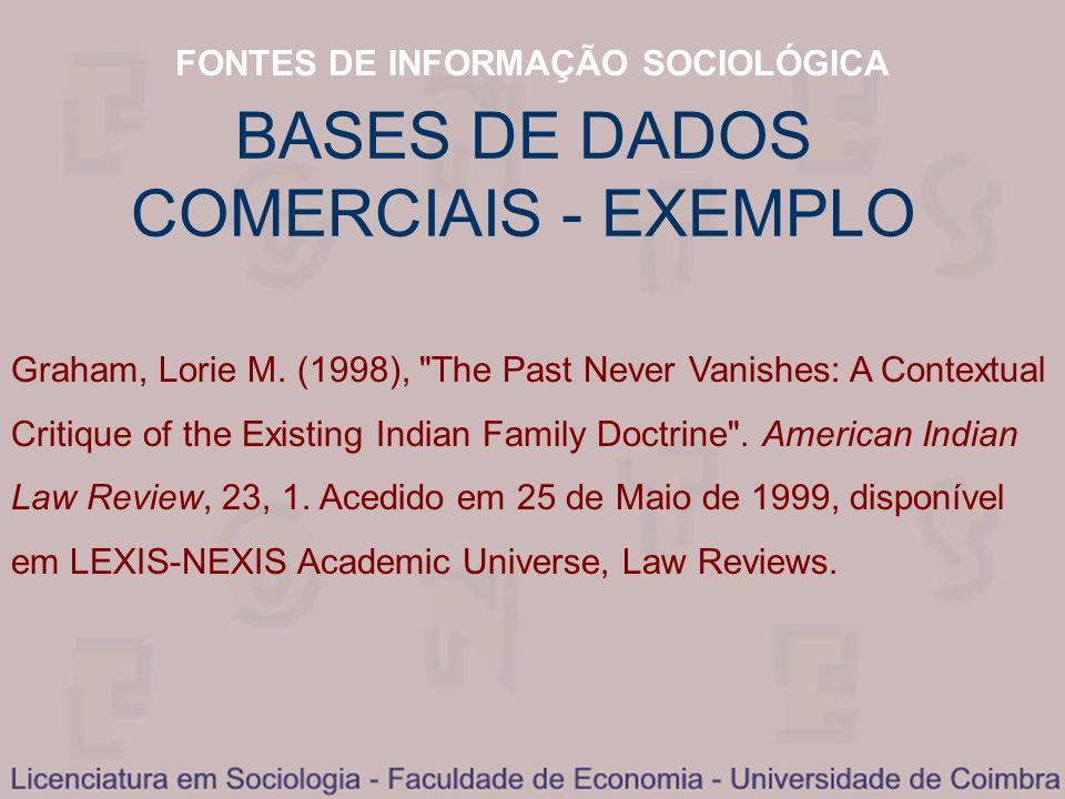 FONTES DE INFORMAÇÃO SOCIOLÓGICA BASES DE DADOS COMERCIAIS - EXEMPLO Graham, Lorie M. (1998),