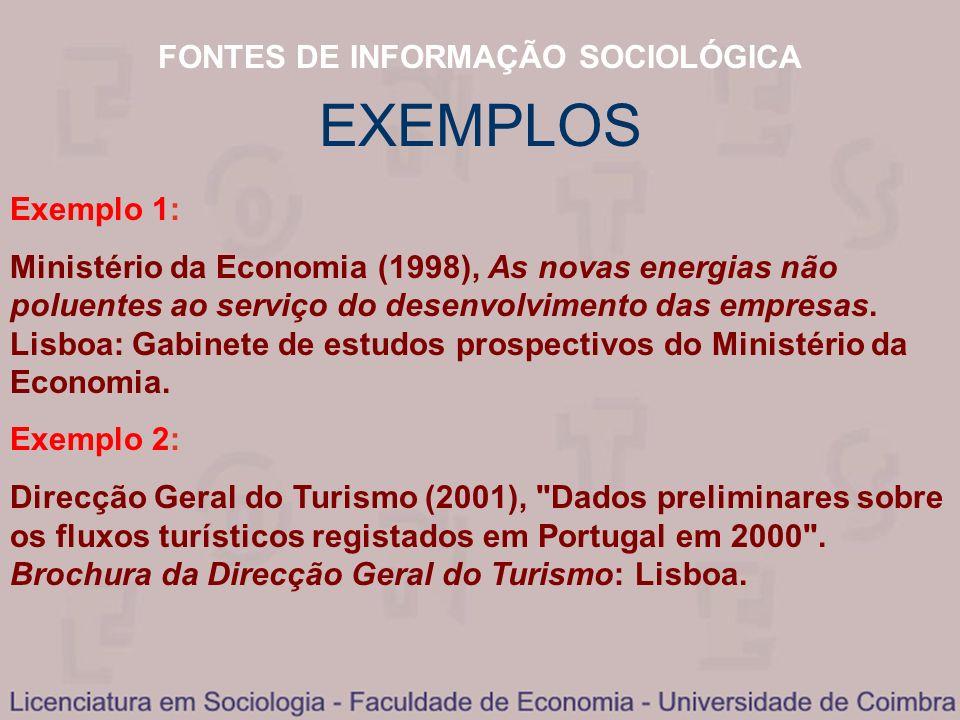 FONTES DE INFORMAÇÃO SOCIOLÓGICA EXEMPLOS Exemplo 1: Ministério da Economia (1998), As novas energias não poluentes ao serviço do desenvolvimento das