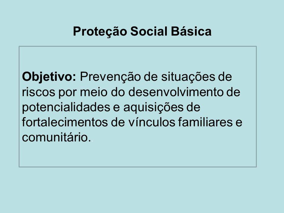 Proteção Social Básica Objetivo: Prevenção de situações de riscos por meio do desenvolvimento de potencialidades e aquisições de fortalecimentos de ví