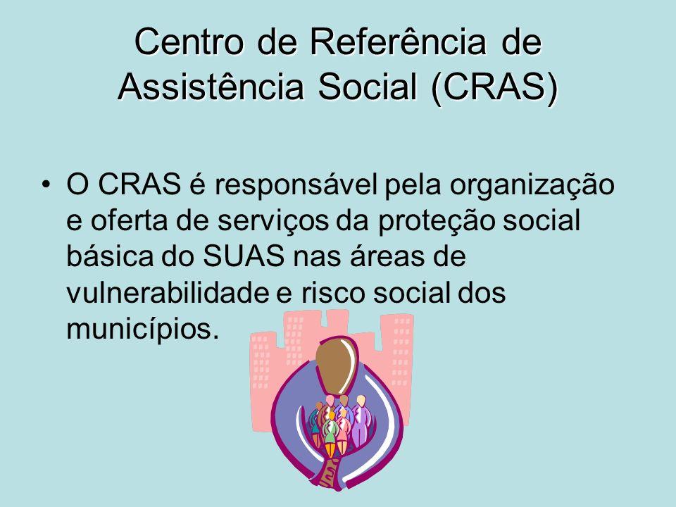 Centro de Referência de Assistência Social (CRAS) O CRAS é responsável pela organização e oferta de serviços da proteção social básica do SUAS nas áre