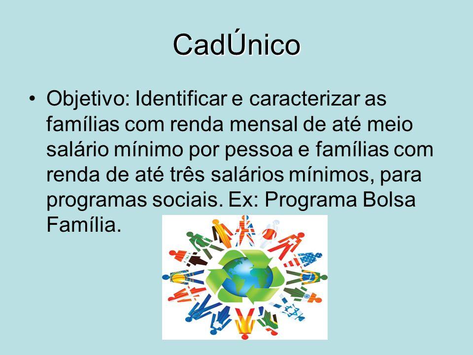 CadÚnico Objetivo: Identificar e caracterizar as famílias com renda mensal de até meio salário mínimo por pessoa e famílias com renda de até três salá
