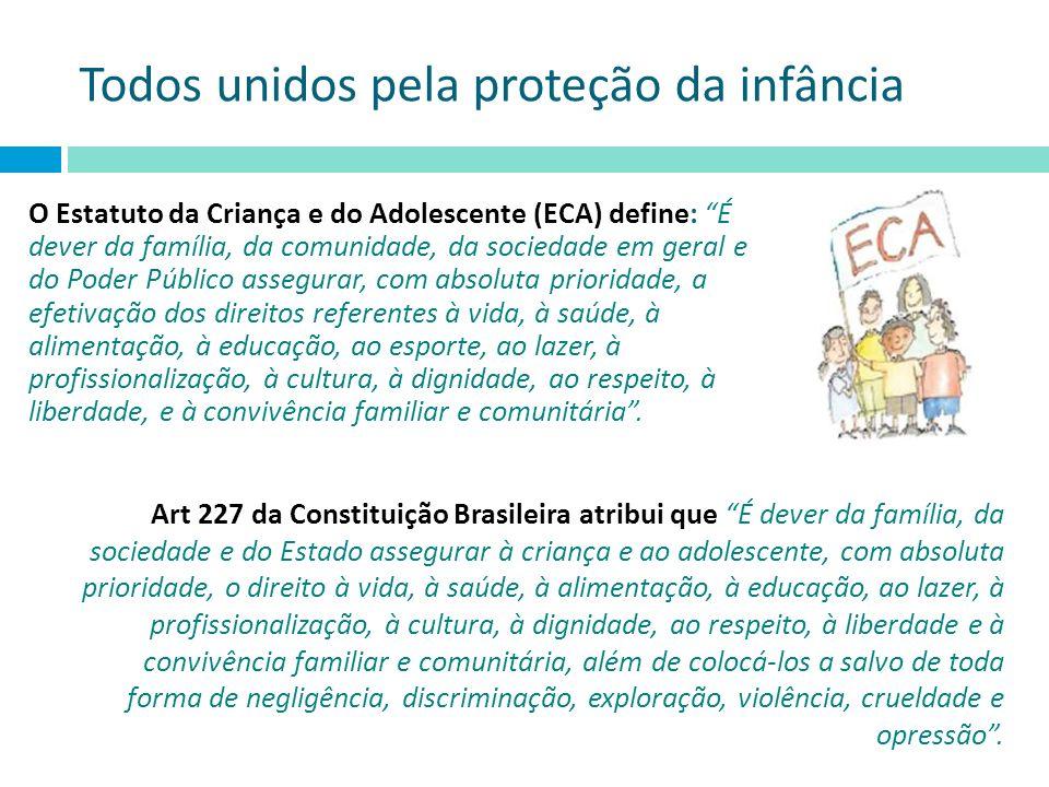 Todos unidos pela proteção da infância O Estatuto da Criança e do Adolescente (ECA) define: É dever da família, da comunidade, da sociedade em geral e