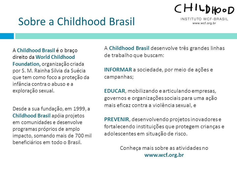 A Childhood Brasil é o braço direito da World Childhood Foundation, organização criada por S. M. Rainha Silvia da Suécia que tem como foco a proteção