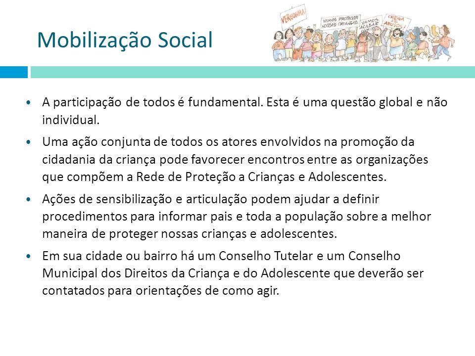 Mobilização Social A participação de todos é fundamental. Esta é uma questão global e não individual. Uma ação conjunta de todos os atores envolvidos
