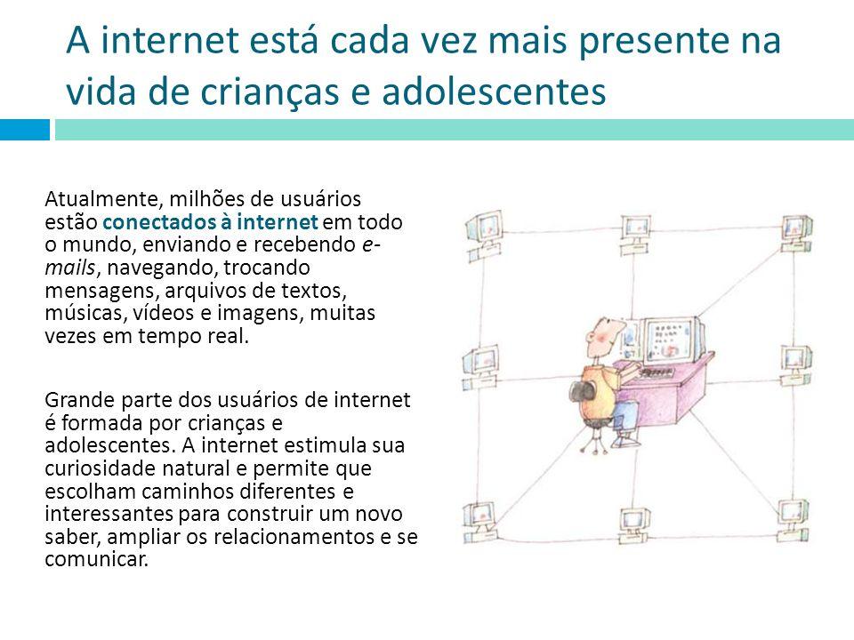 A internet está cada vez mais presente na vida de crianças e adolescentes Atualmente, milhões de usuários estão conectados à internet em todo o mundo,