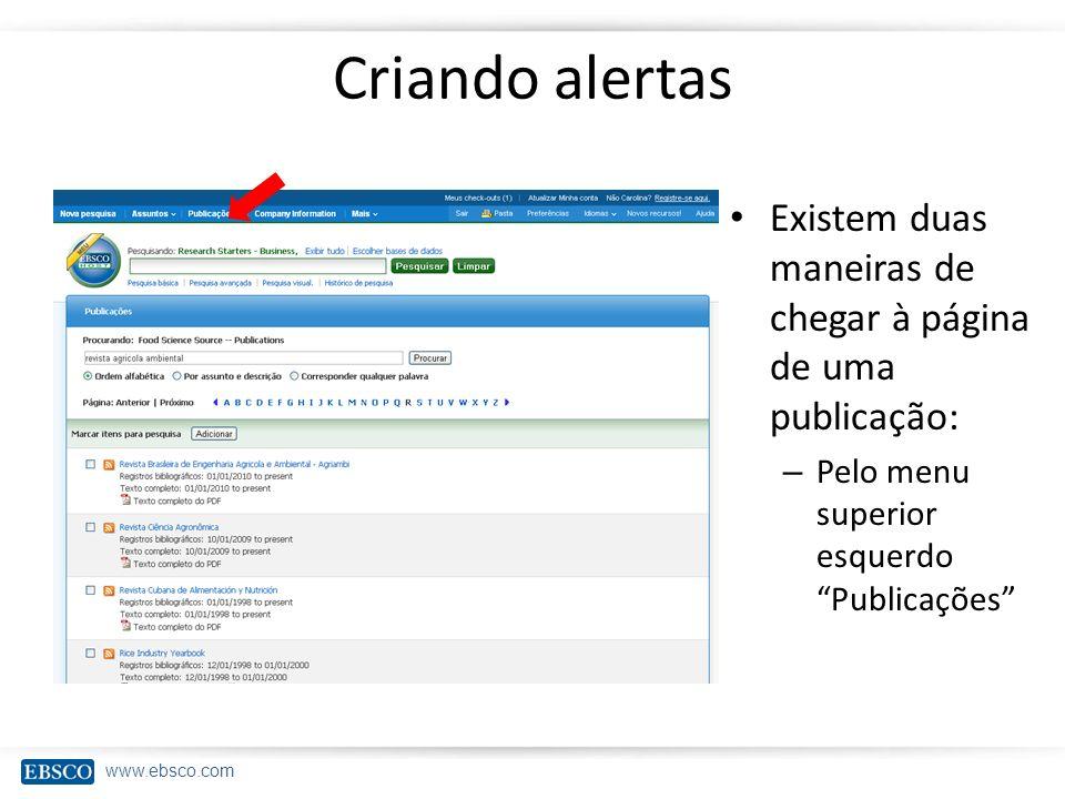 www.ebsco.com Criando alertas Existem duas maneiras de chegar à página de uma publicação: – Pelo menu superior esquerdo Publicações