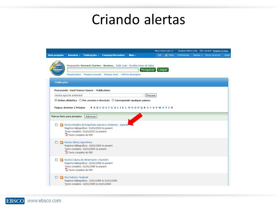 www.ebsco.com Criando alertas