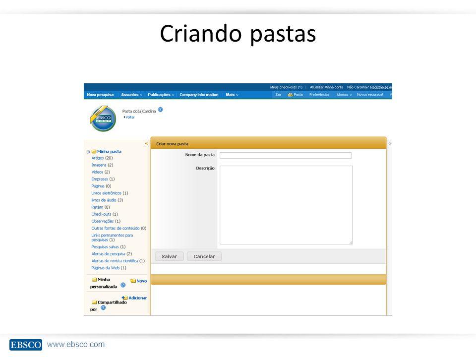 www.ebsco.com Criando pastas