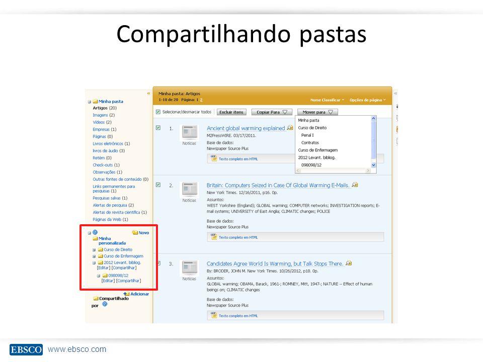 www.ebsco.com Compartilhando pastas