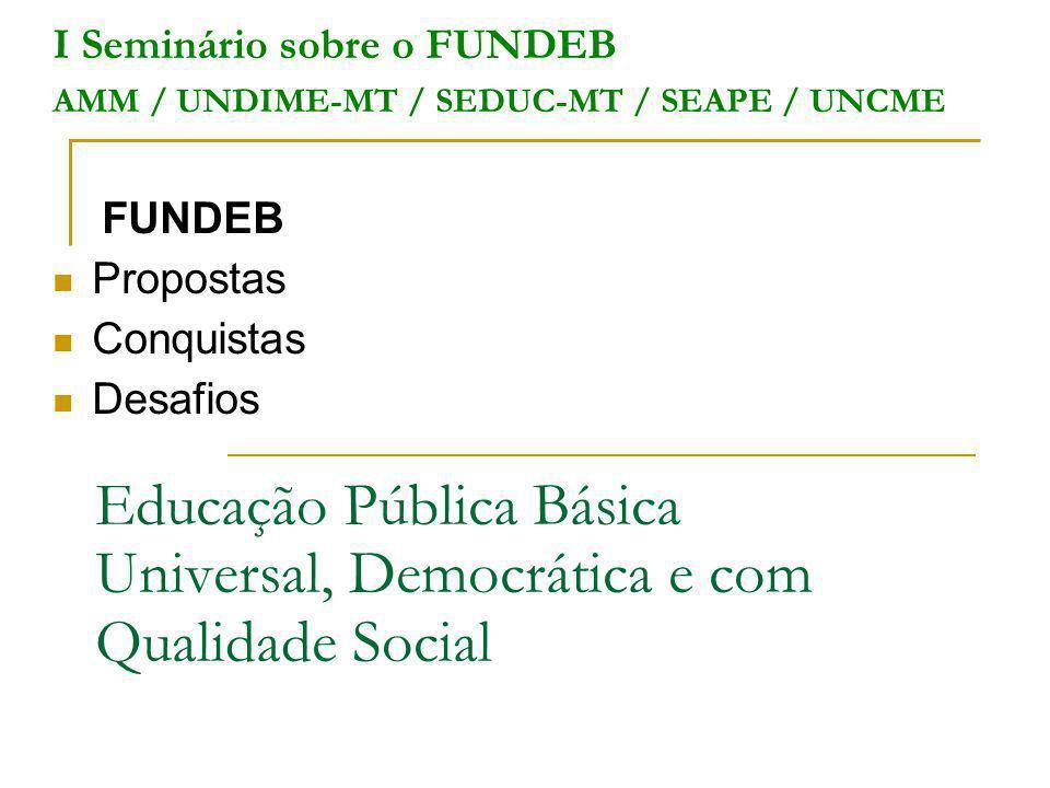Educação Pública Básica Universal, Democrática e com Qualidade Social I Seminário sobre o FUNDEB AMM / UNDIME-MT / SEDUC-MT / SEAPE / UNCME FUNDEB Pro