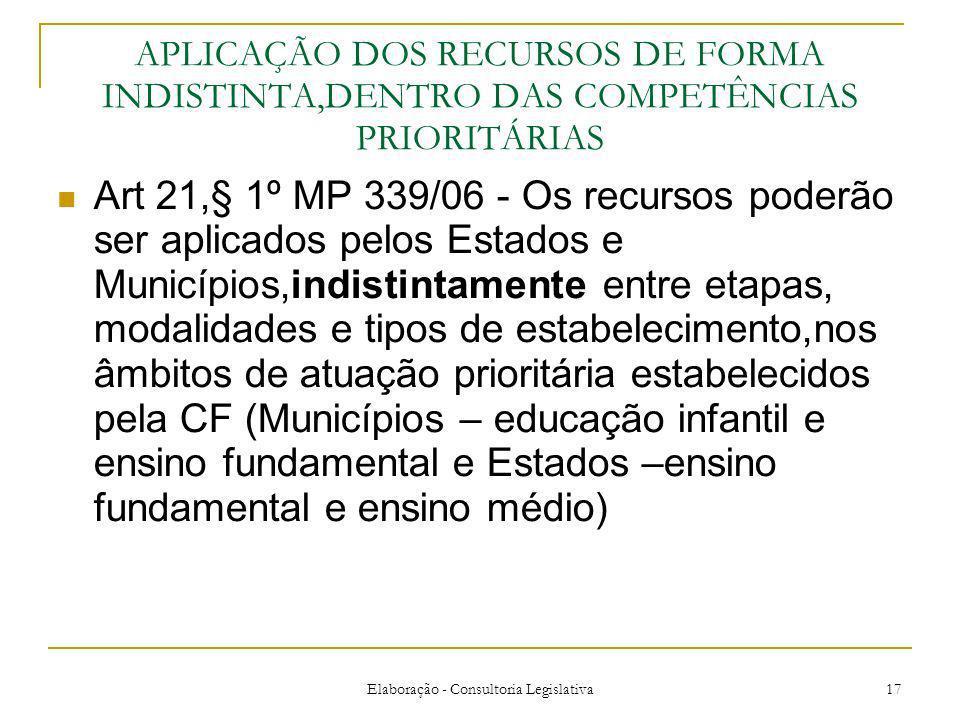 Elaboração - Consultoria Legislativa 17 APLICAÇÃO DOS RECURSOS DE FORMA INDISTINTA,DENTRO DAS COMPETÊNCIAS PRIORITÁRIAS Art 21,§ 1º MP 339/06 - Os rec