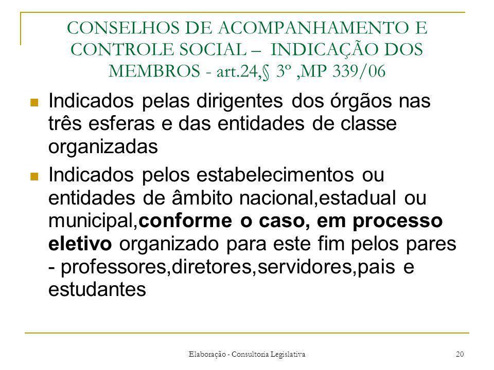 Elaboração - Consultoria Legislativa 20 CONSELHOS DE ACOMPANHAMENTO E CONTROLE SOCIAL – INDICAÇÃO DOS MEMBROS - art.24,§ 3º,MP 339/06 Indicados pelas