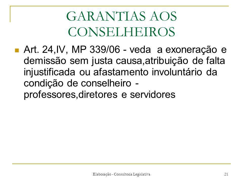Elaboração - Consultoria Legislativa 21 GARANTIAS AOS CONSELHEIROS Art. 24,IV, MP 339/06 - veda a exoneração e demissão sem justa causa,atribuição de