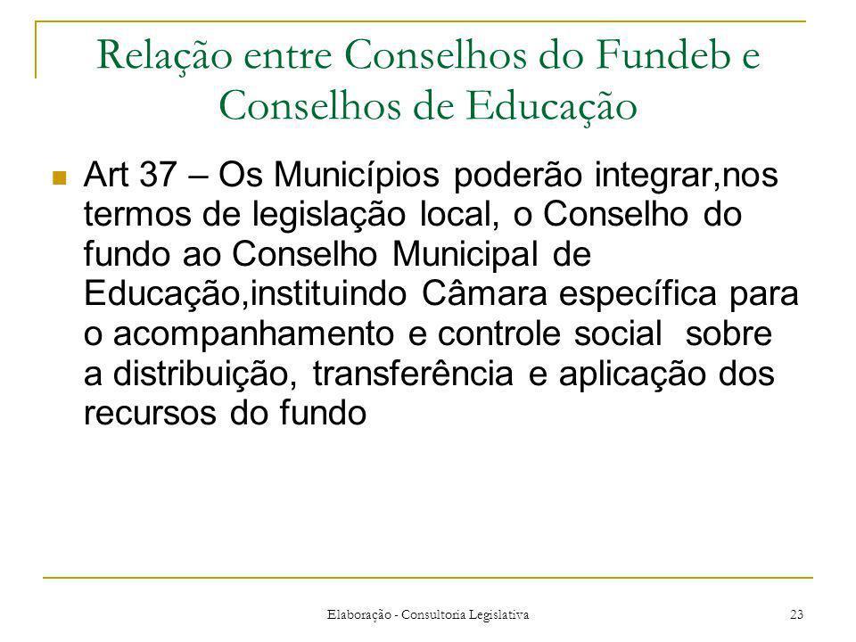 Elaboração - Consultoria Legislativa 23 Relação entre Conselhos do Fundeb e Conselhos de Educação Art 37 – Os Municípios poderão integrar,nos termos d