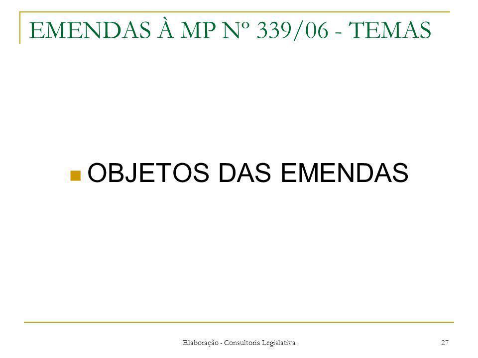 Elaboração - Consultoria Legislativa 27 EMENDAS À MP Nº 339/06 - TEMAS OBJETOS DAS EMENDAS