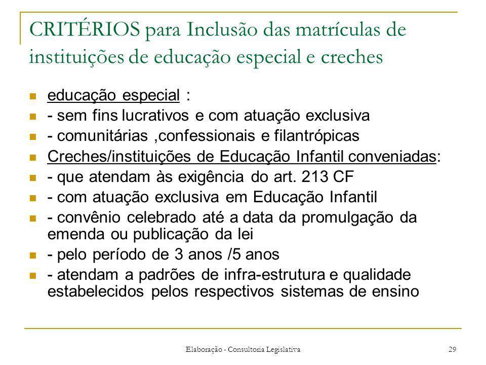 Elaboração - Consultoria Legislativa 29 CRITÉRIOS para Inclusão das matrículas de instituições de educação especial e creches educação especial : - se