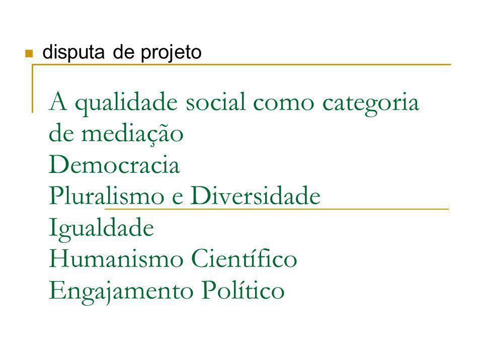 A qualidade social como categoria de mediação Democracia Pluralismo e Diversidade Igualdade Humanismo Científico Engajamento Político disputa de projeto