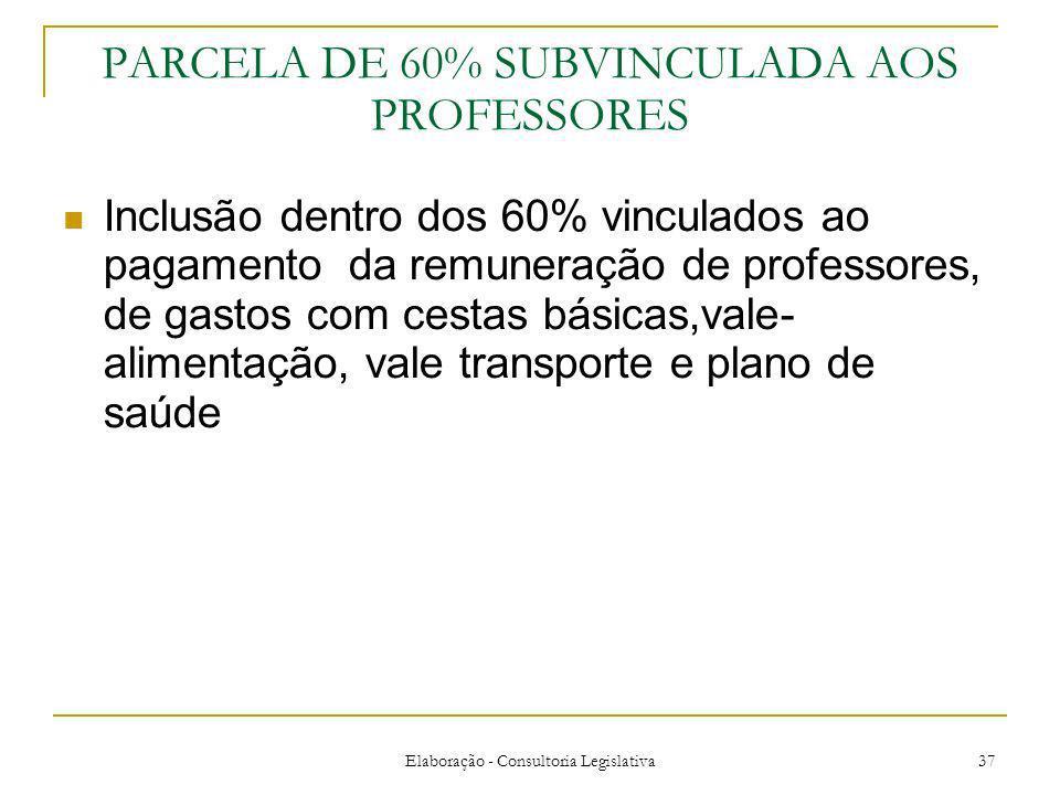 Elaboração - Consultoria Legislativa 37 PARCELA DE 60% SUBVINCULADA AOS PROFESSORES Inclusão dentro dos 60% vinculados ao pagamento da remuneração de
