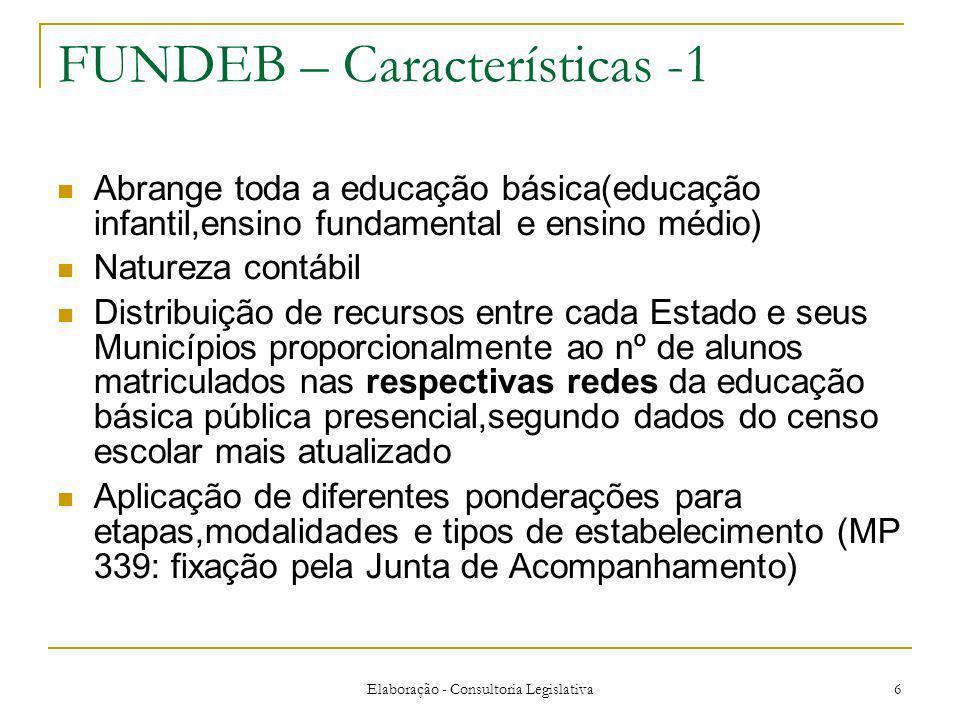 Elaboração - Consultoria Legislativa 6 FUNDEB – Características -1 Abrange toda a educação básica(educação infantil,ensino fundamental e ensino médio)