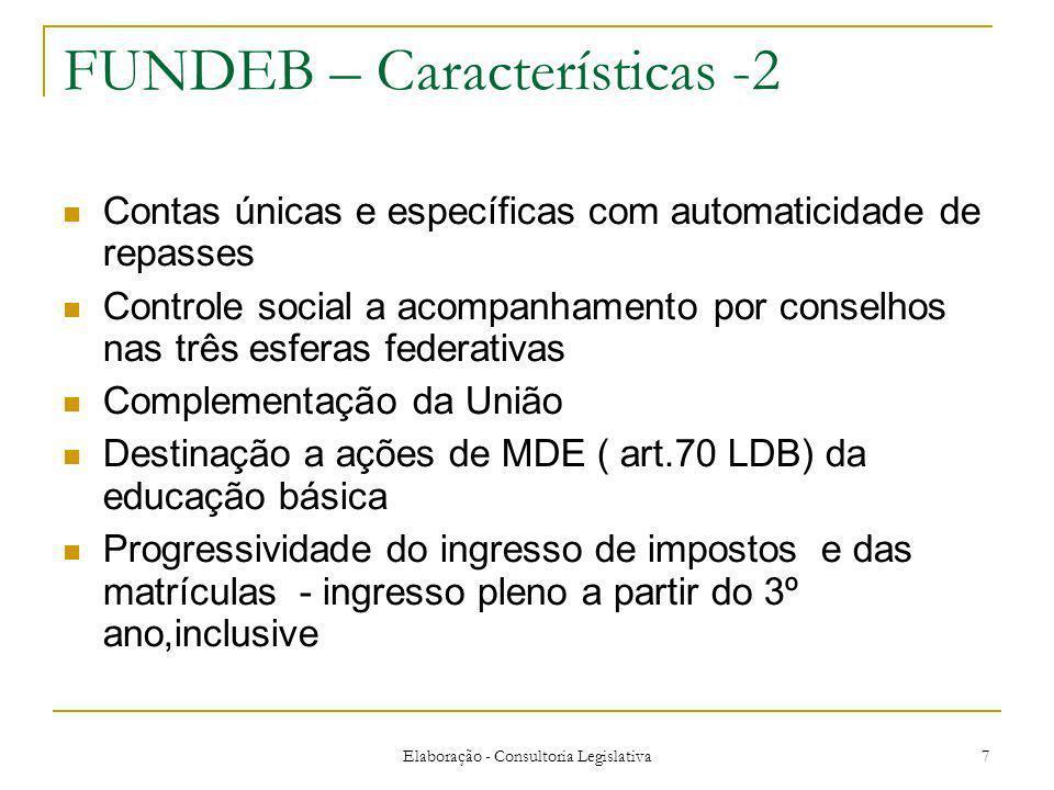 Elaboração - Consultoria Legislativa 7 FUNDEB – Características -2 Contas únicas e específicas com automaticidade de repasses Controle social a acompa