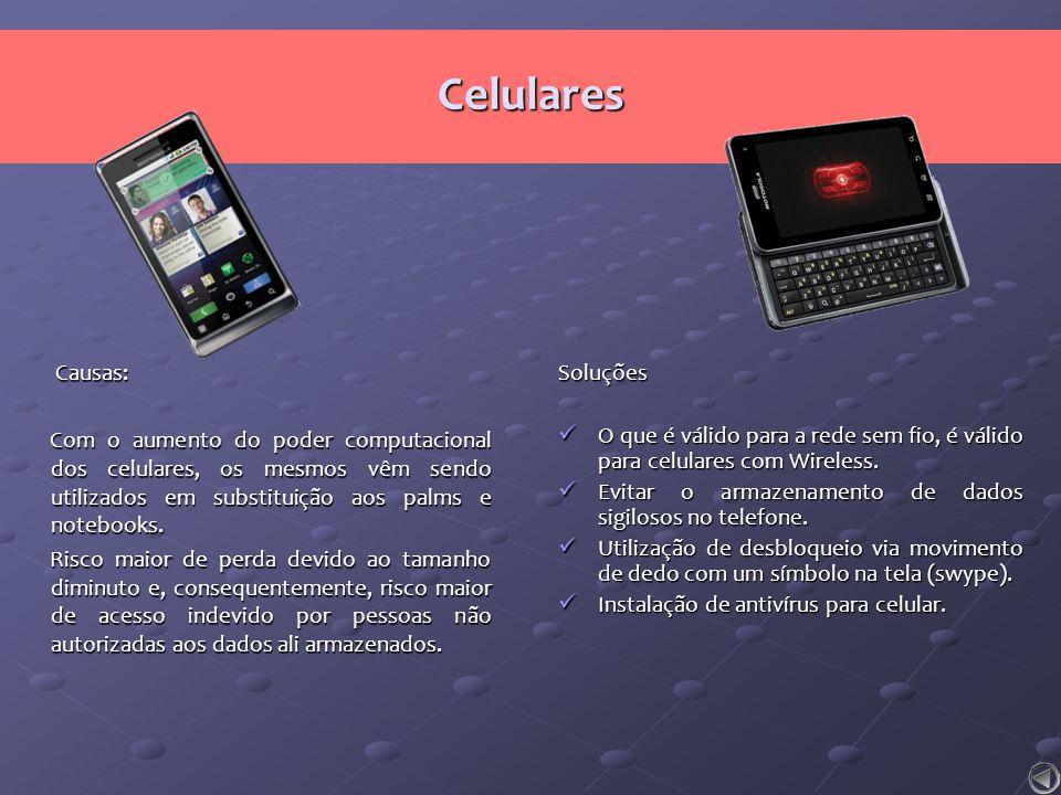 Celulares Causas: Causas: Com o aumento do poder computacional dos celulares, os mesmos vêm sendo utilizados em substituição aos palms e notebooks. Ri