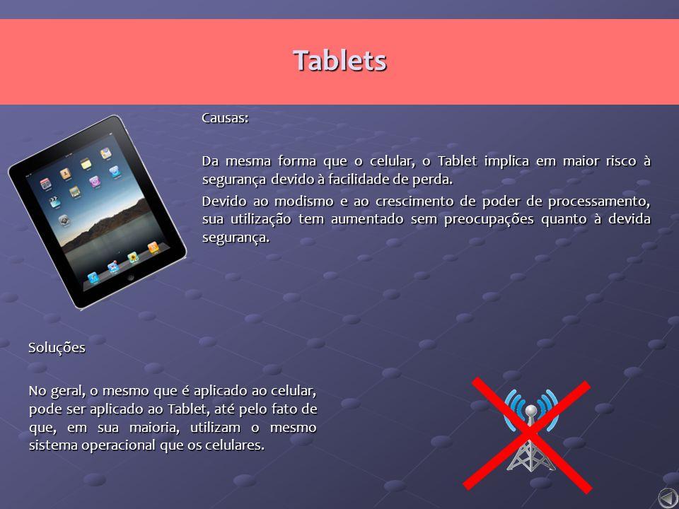 Soluções No geral, o mesmo que é aplicado ao celular, pode ser aplicado ao Tablet, até pelo fato de que, em sua maioria, utilizam o mesmo sistema oper