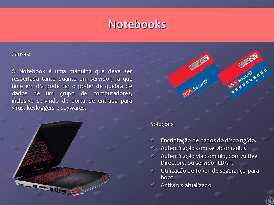 Causas: O Notebook é uma máquina que deve ser respeitada tanto quanto um servidor, já que hoje em dia pode ter o poder de quebra de dados de um grupo