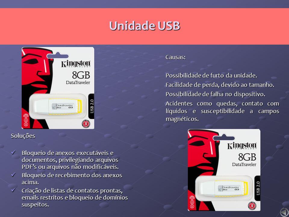 Unidade USB Causas: Possibilidade de furto da unidade. Facilidade de perda, devido ao tamanho. Possibilidade de falha no dispositivo. Acidentes como q
