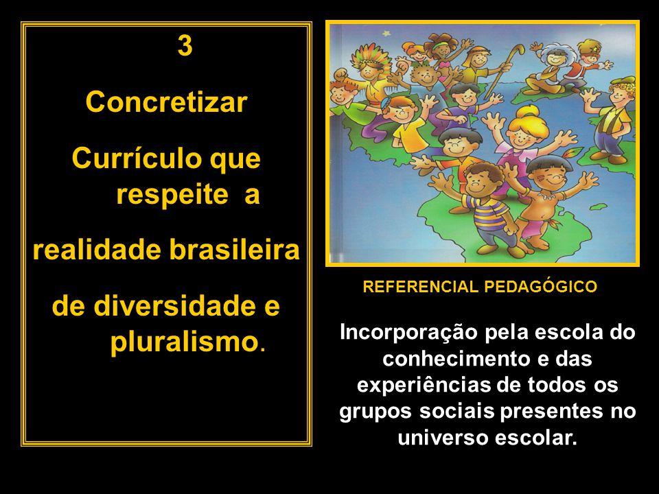 3 Concretizar Currículo que respeite a realidade brasileira de diversidade e pluralismo. REFERENCIAL PEDAGÓGICO Incorporação pela escola do conhecimen
