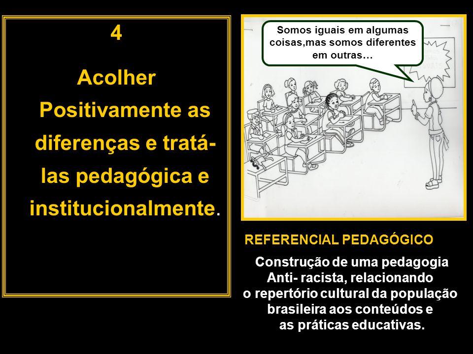 4 Acolher Positivamente as diferenças e tratá- las pedagógica e institucionalmente. Somos iguais em algumas coisas,mas somos diferentes em outras… REF