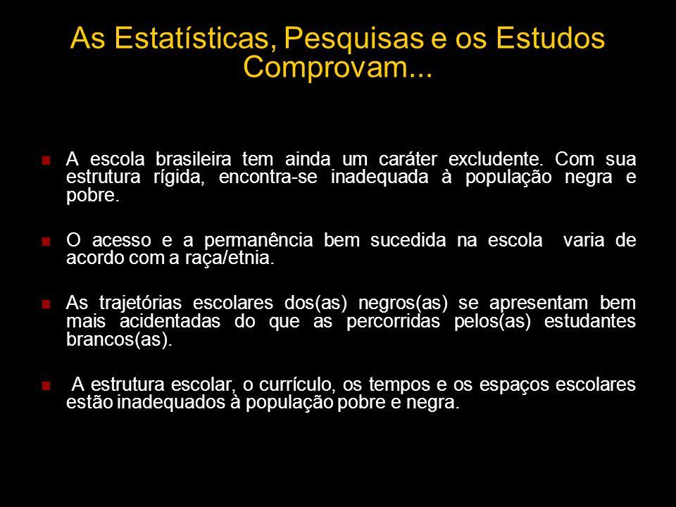 As Estatísticas, Pesquisas e os Estudos Comprovam... A escola brasileira tem ainda um caráter excludente. Com sua estrutura rígida, encontra-se inadeq
