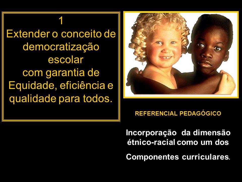 1 Extender o conceito de democratização escolar com garantia de Equidade, eficiência e qualidade para todos. REFERENCIAL PEDAGÓGICO Incorporação da di