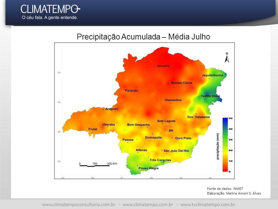 www.climatempoconsultoria.com.br - www.climatempo.com.br - www.tvclimatempo.com.br Precipitação Acumulada – Média Julho Fonte de dados: INMET Elaboração: Melina Amoni S.
