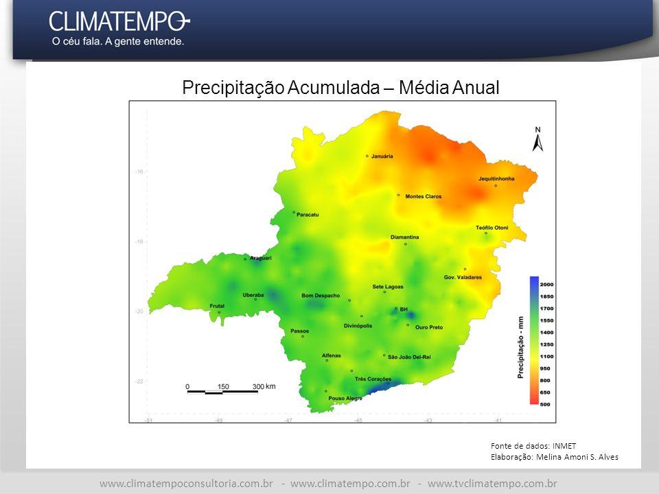 www.climatempoconsultoria.com.br - www.climatempo.com.br - www.tvclimatempo.com.br Precipitação Acumulada – Média Anual Fonte de dados: INMET Elaboração: Melina Amoni S.