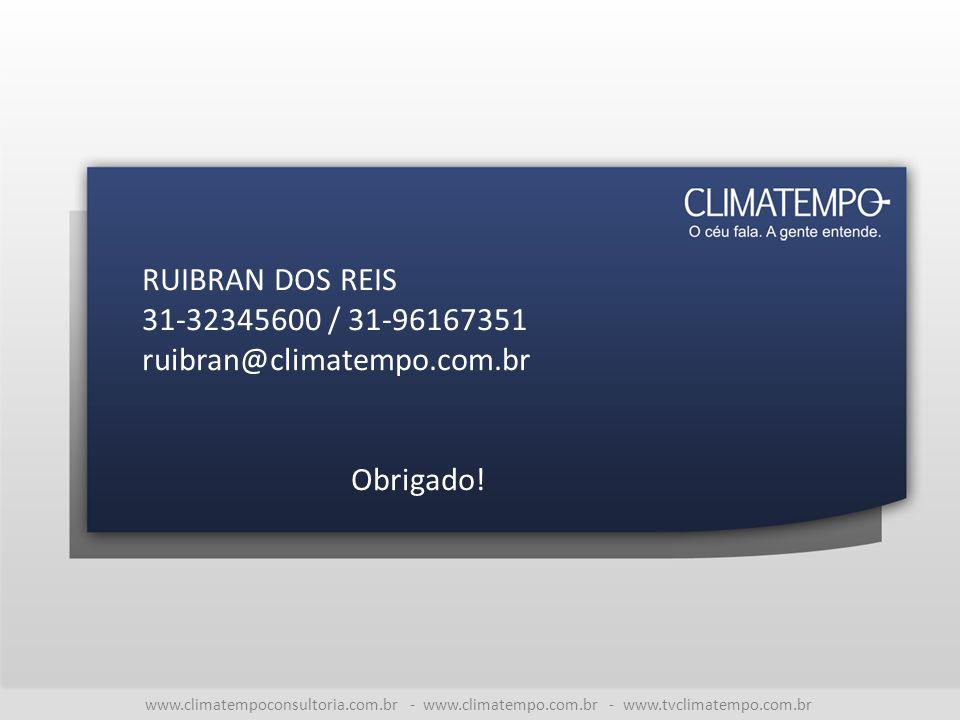www.climatempoconsultoria.com.br - www.climatempo.com.br - www.tvclimatempo.com.br RUIBRAN DOS REIS 31-32345600 / 31-96167351 ruibran@climatempo.com.br Obrigado!