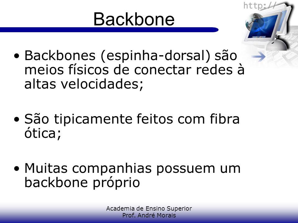Academia de Ensino Superior Prof. André Morais Backbone Backbones (espinha-dorsal) são meios físicos de conectar redes à altas velocidades; São tipica