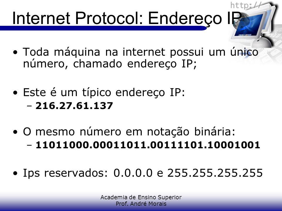 Academia de Ensino Superior Prof. André Morais Internet Protocol: Endereço IP Toda máquina na internet possui um único número, chamado endereço IP; Es