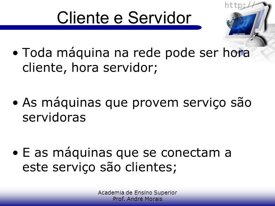 Academia de Ensino Superior Prof. André Morais Cliente e Servidor Toda máquina na rede pode ser hora cliente, hora servidor; As máquinas que provem se